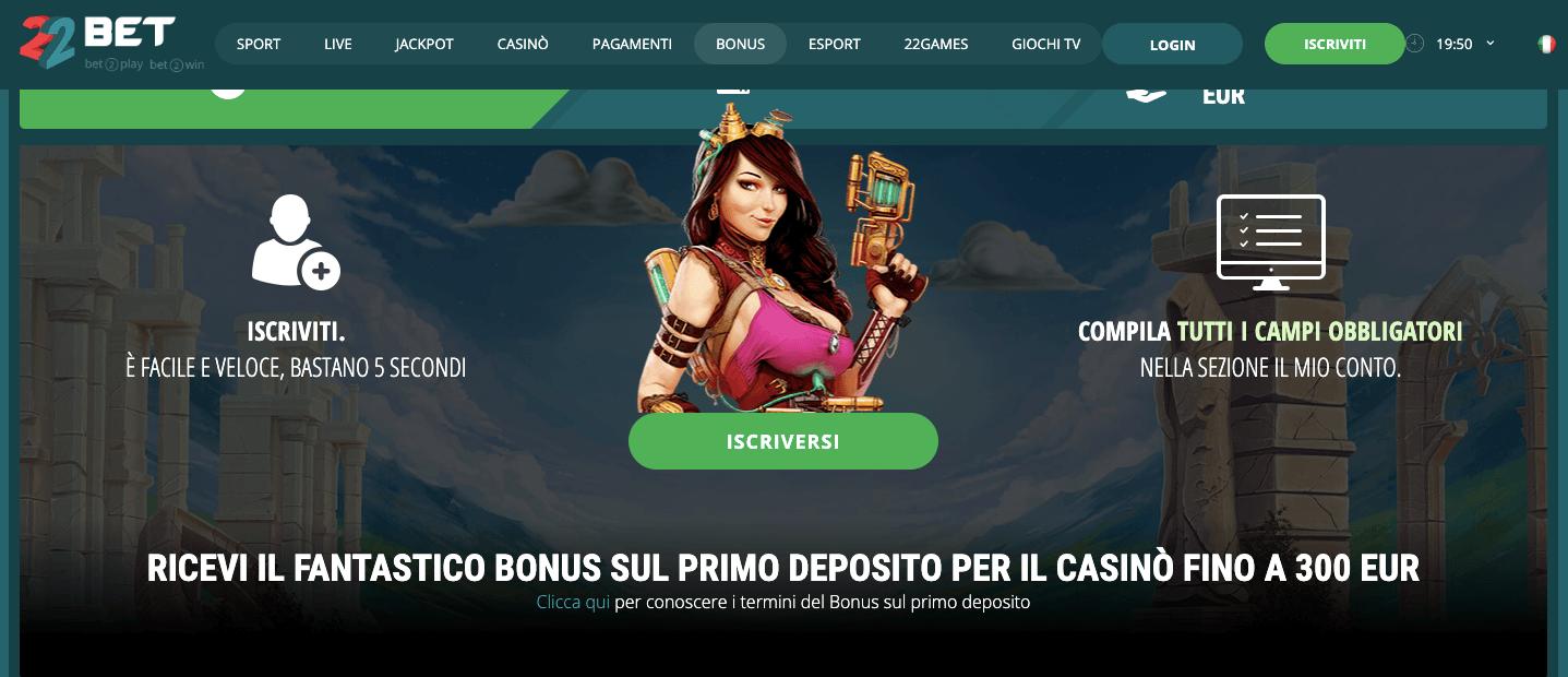 22bet casino bonus benvenuto