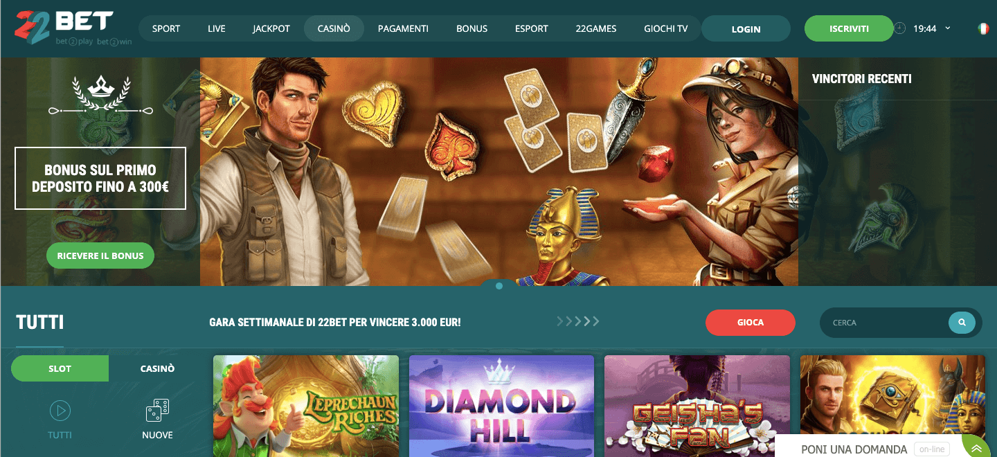 22bet casino homepage