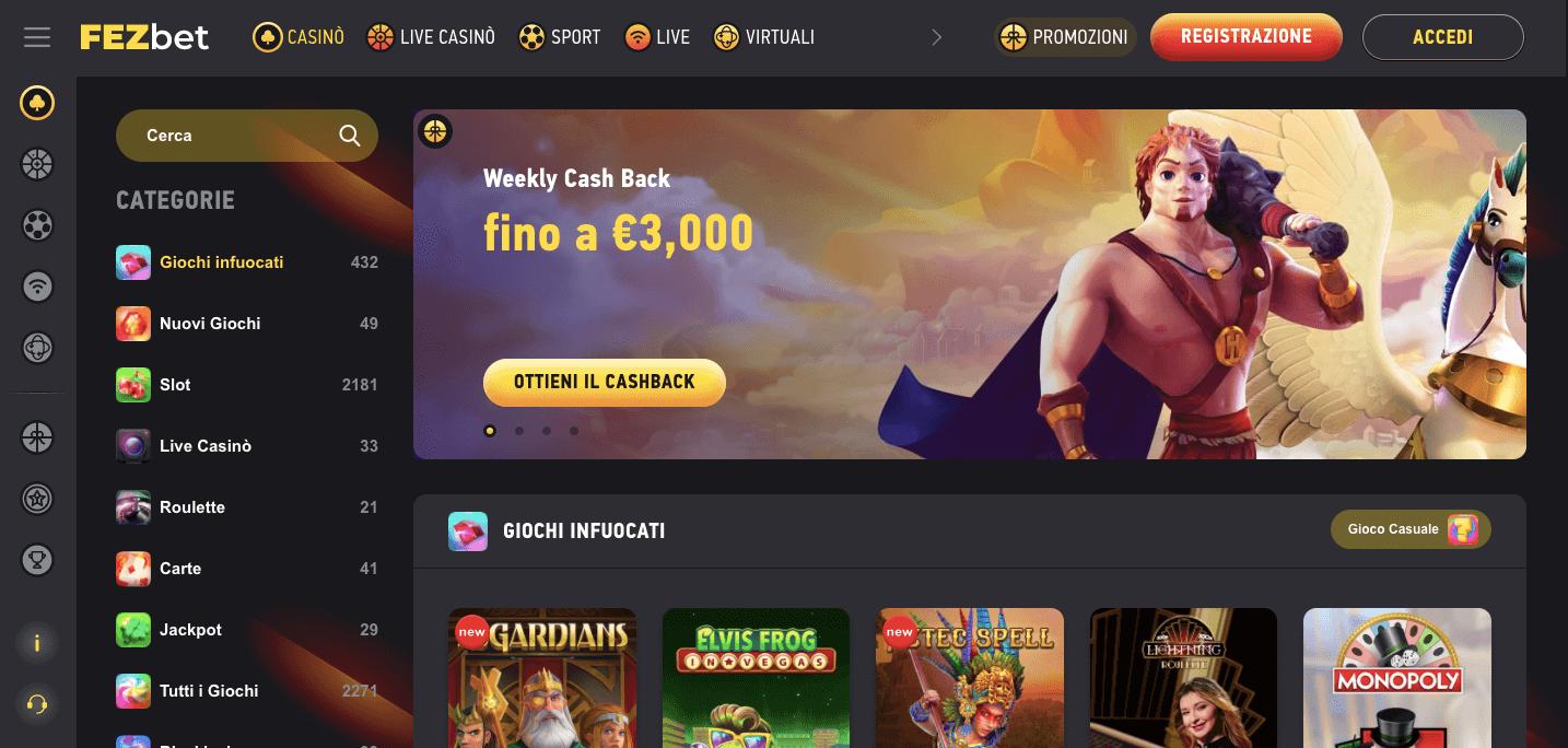 Fezbet Casino homepage