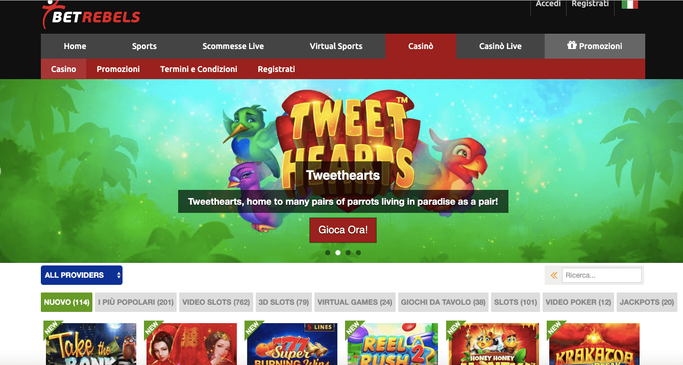 betrebels casino homepage