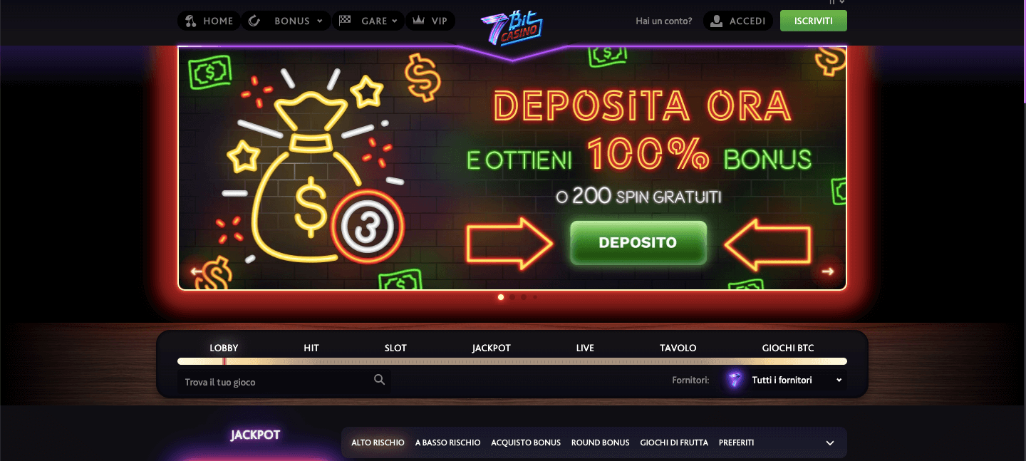 7bit Casinò homepage