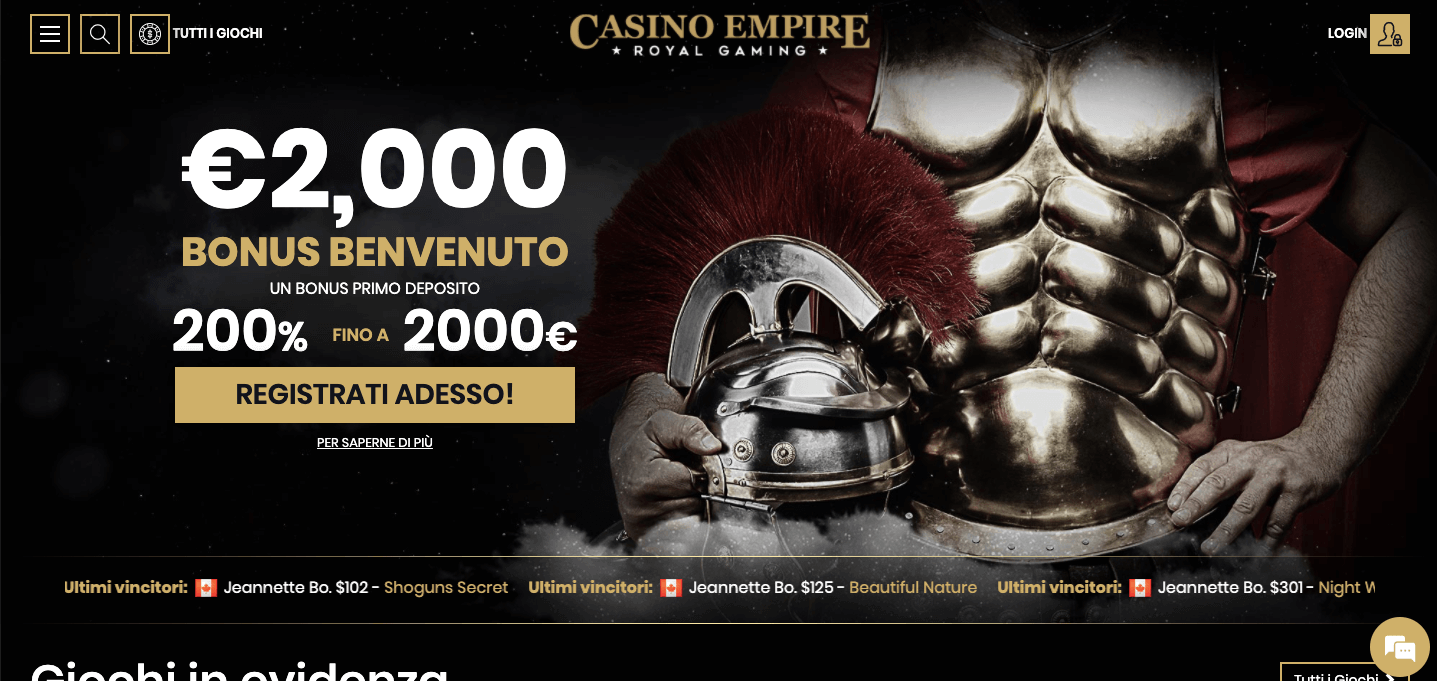 CasinoEmpire homepage