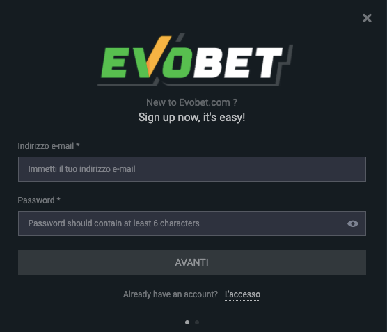 EvoBet registrati