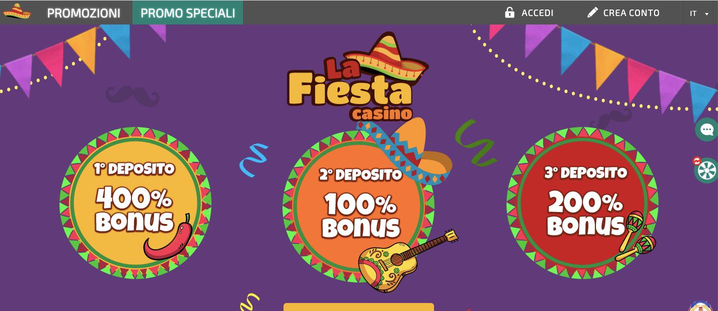La Fiesta Casinò welcome bonus