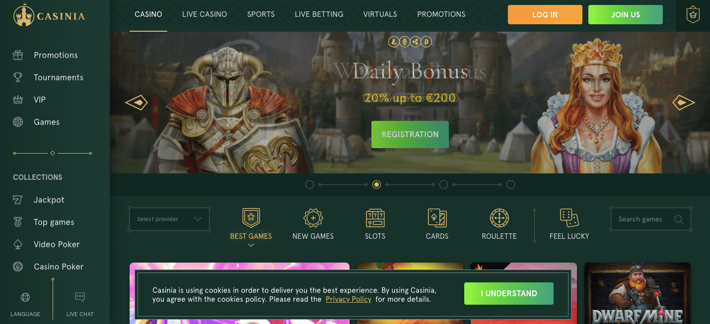 Casiniacasino homepage