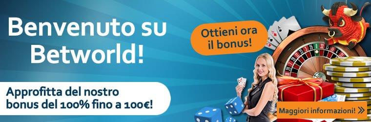 betworld casino bonus benvenuto
