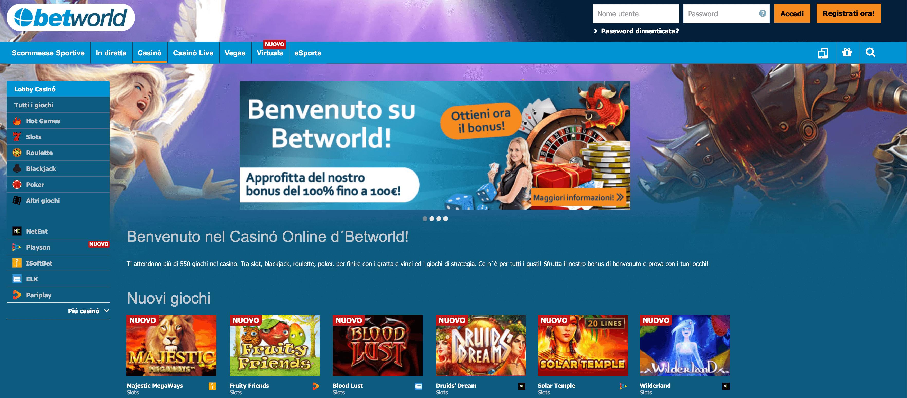betworld casino homepage