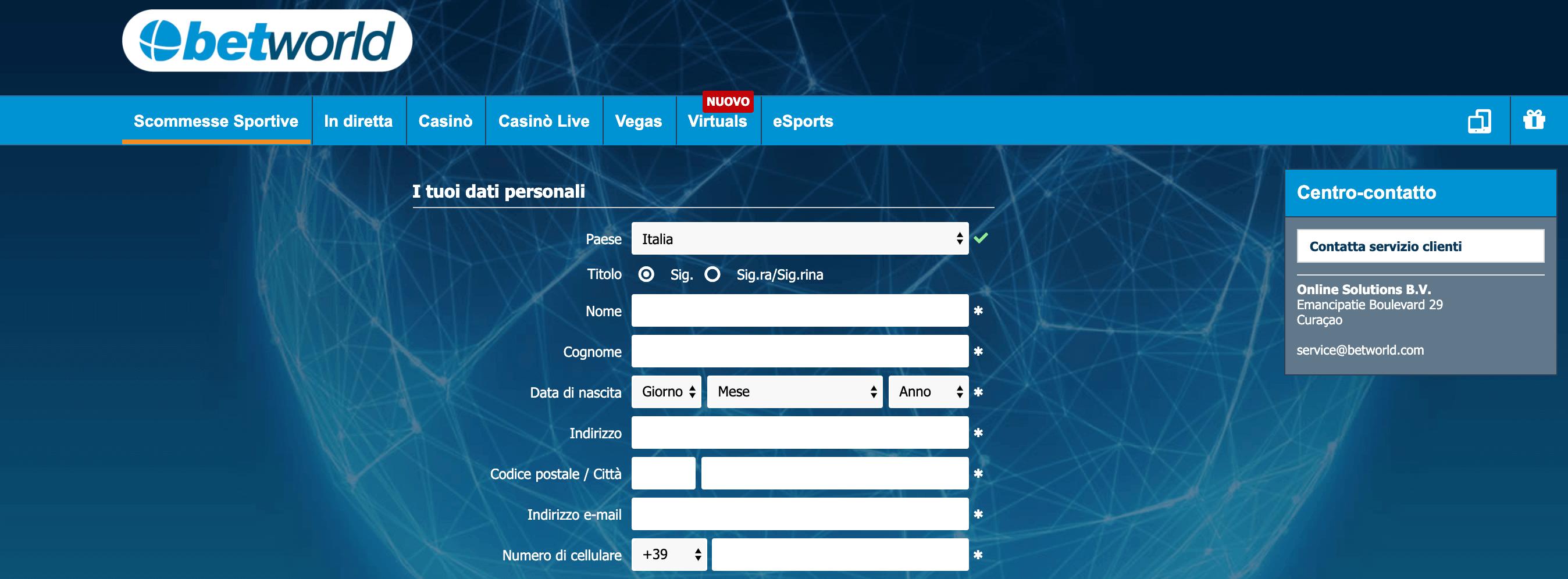 betworld casino registrazione