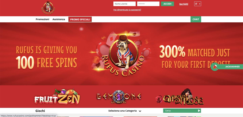 Rufus Casino homepage