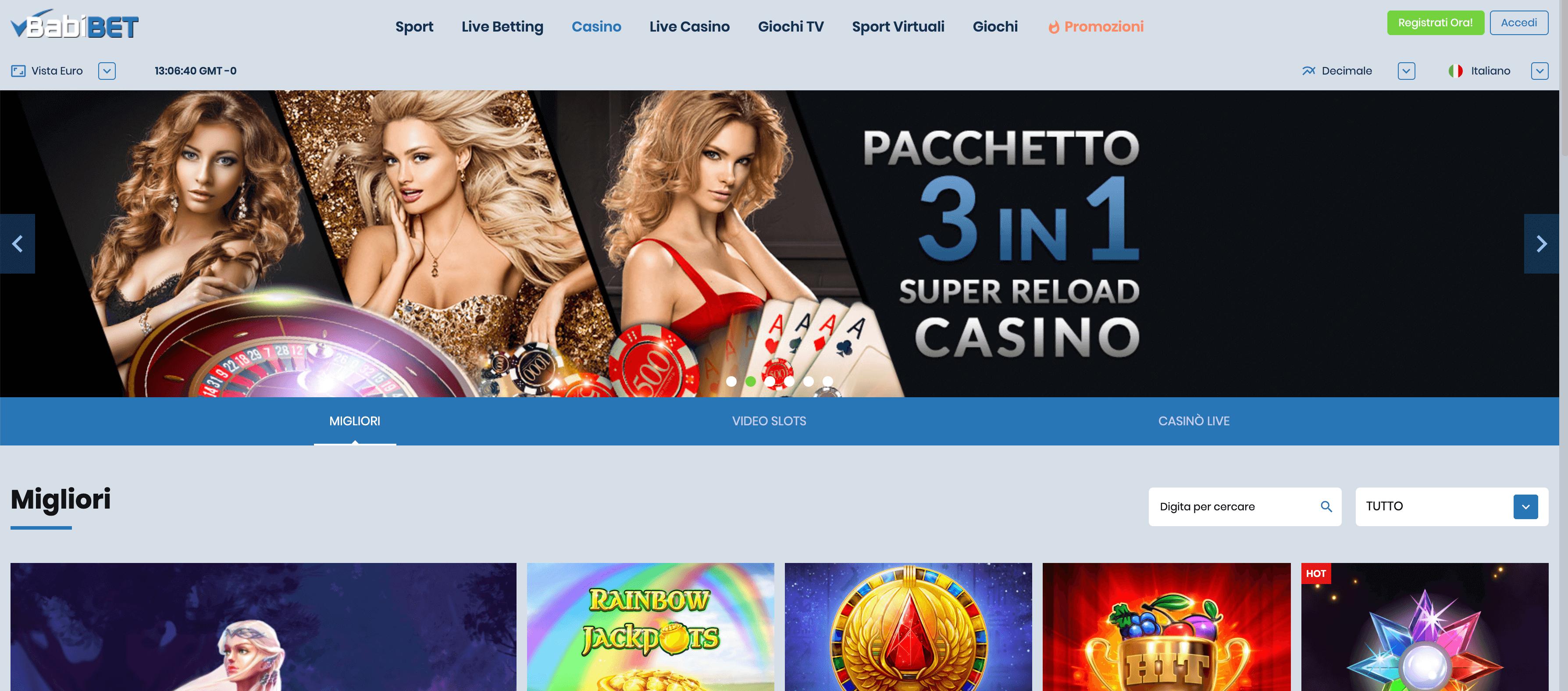 babibet casino homepage