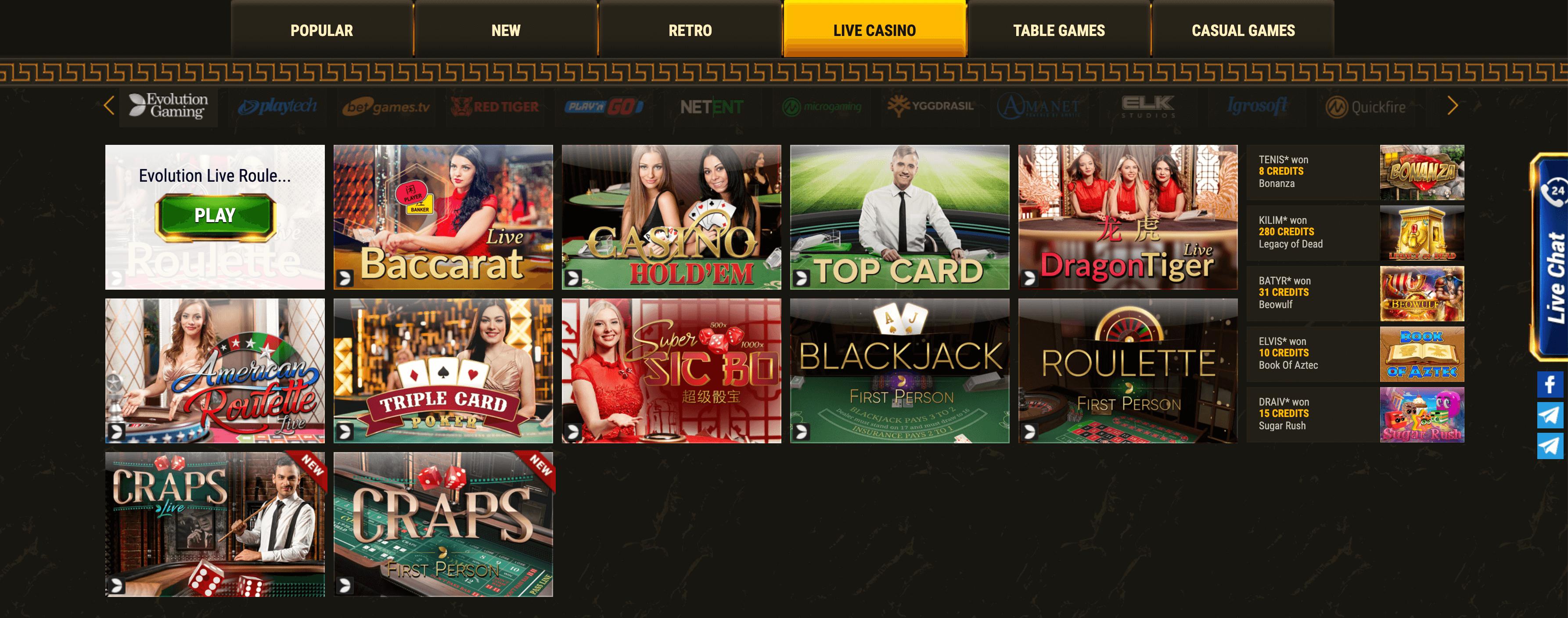 argo casino giochi casino live