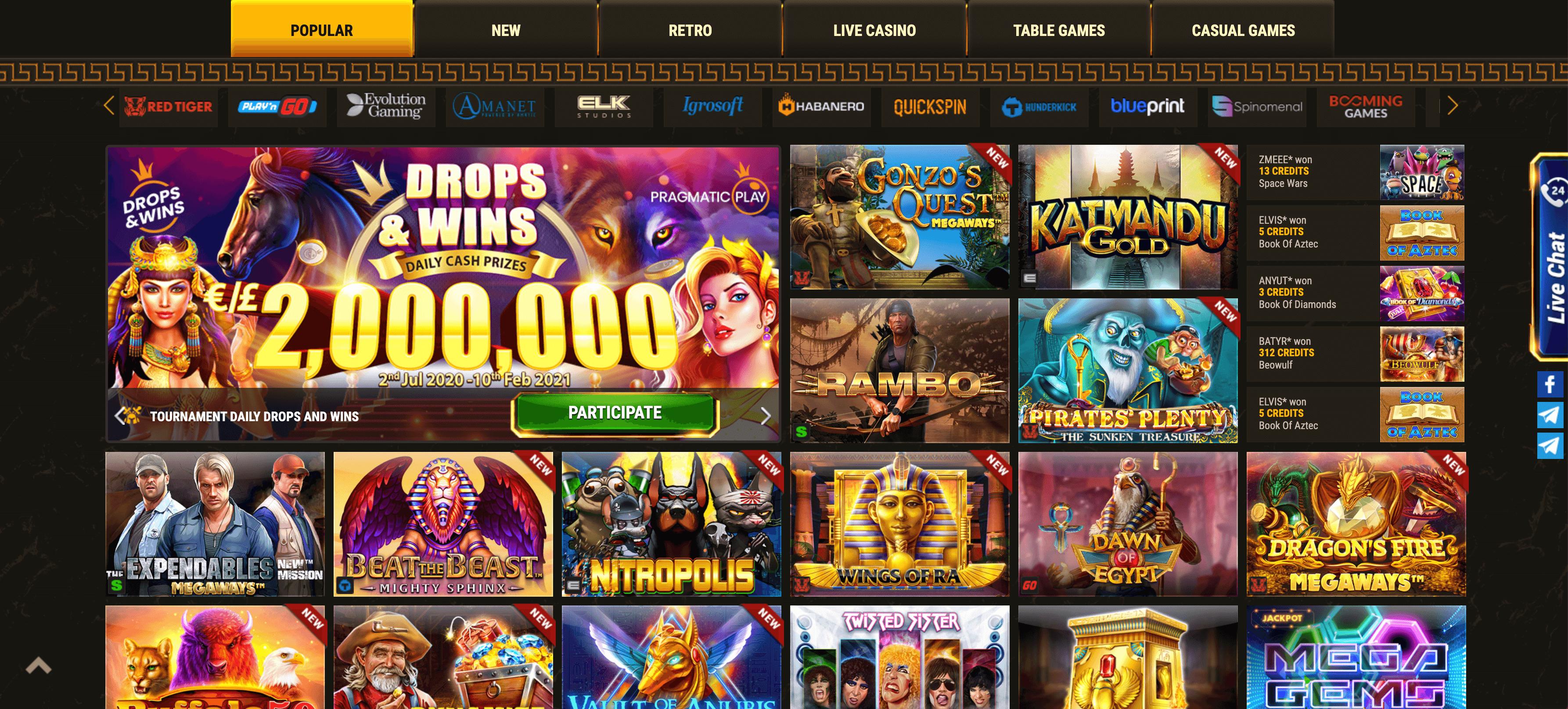 argo casino slot e giochi