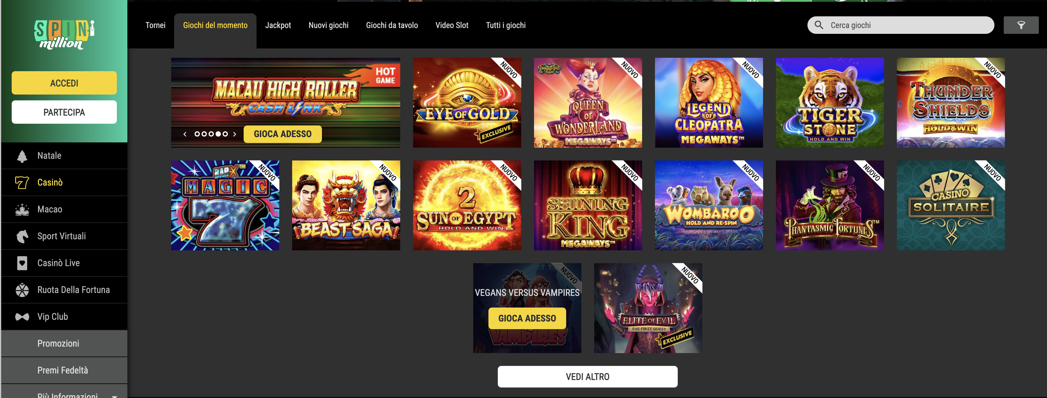 spin million casino giochi