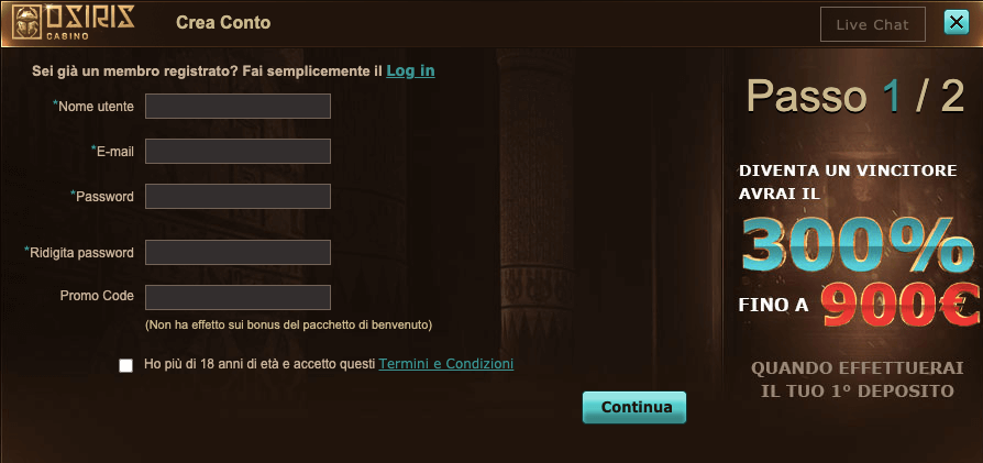 Osiris Casino Registrazione