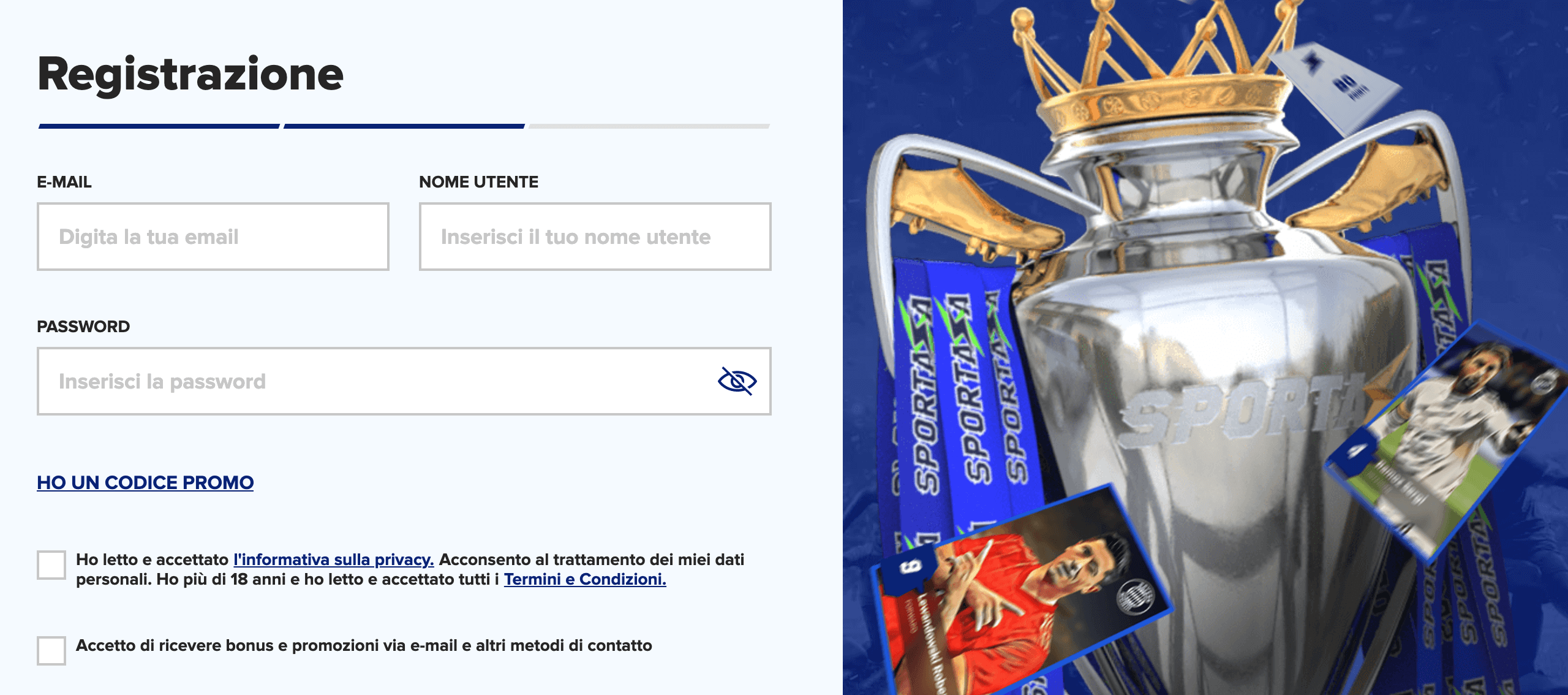 Sportaza Registrazione