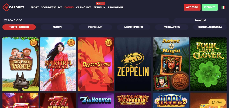 Casobet Casino Home