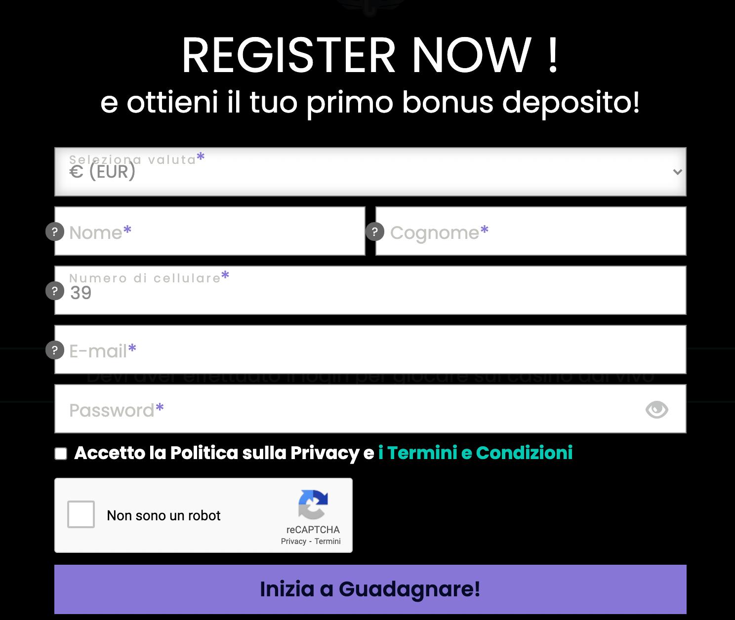 CasinoWin Registrazione