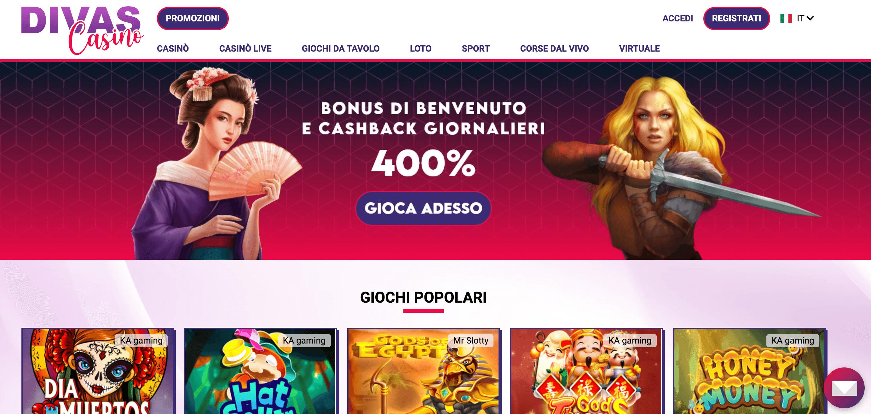 Divas Casino Home