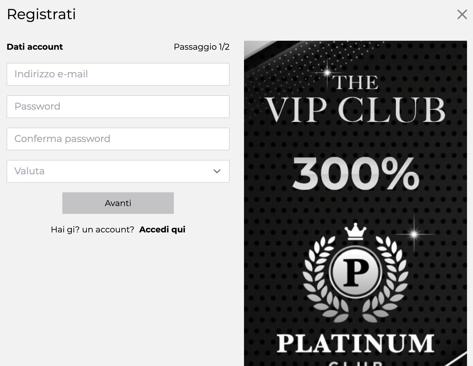 Platinum Club Vip Registrazione